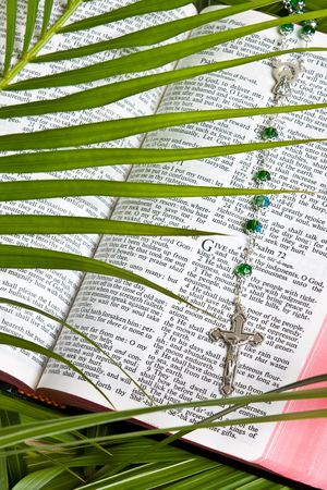 close up of bible with rosary and cross with palm leaf photo