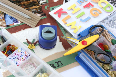 craft supplies: A selection of scrapbooking  craft materials