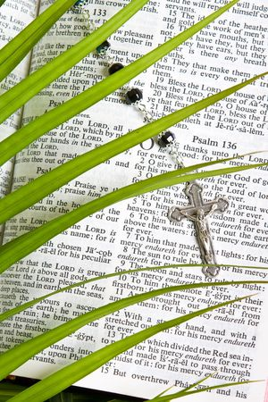 palm sunday: close up of rosary on bible pages with palm leaves
