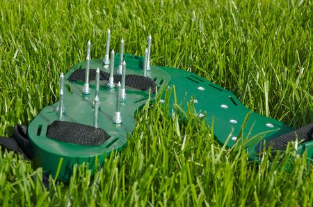 aerator: Two Lawn sandals on green grass