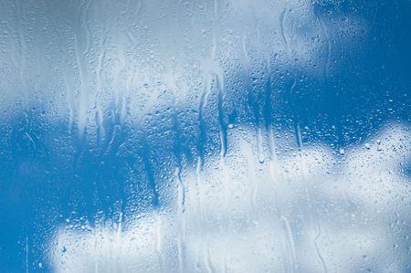 raindrops on glass Stock Photo