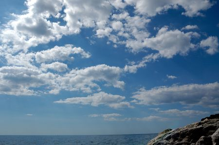 sea and clouds on blue sky Stock Photo