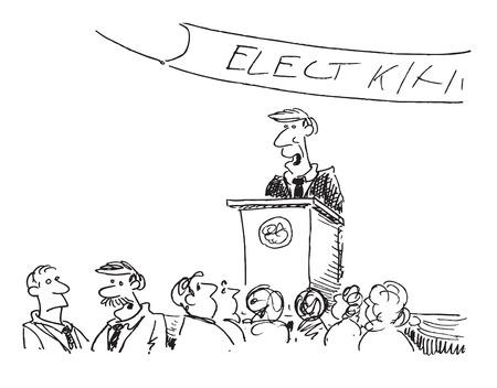 cartoon of a political speech Stock Vector - 2530833