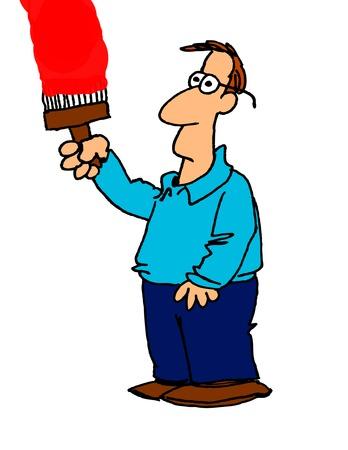 house painter: cartoon of a  man painting Illustration