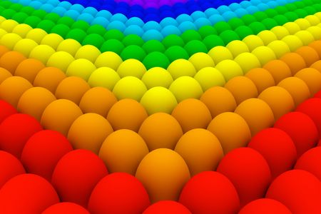 Illustration of the eggs colored in rainbow (also gay community) colors Stock Photo
