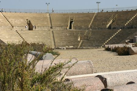 Sits of the ancient Roman theater in Caesarea, Israel Stock Photo - 2127132