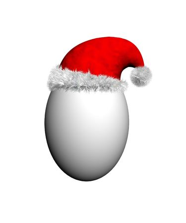 xmax: Egg wearing a red Santa hat with white fur