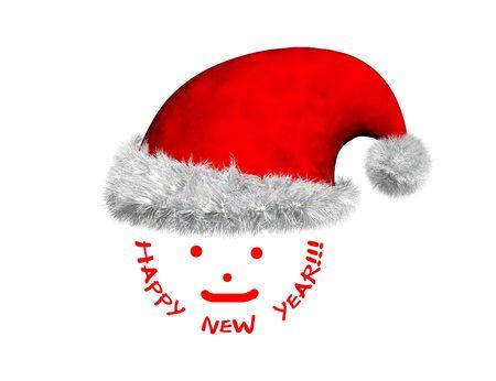 2D Santa Claus cara con 3D Santa sombrero rojo  Foto de archivo - 2426186