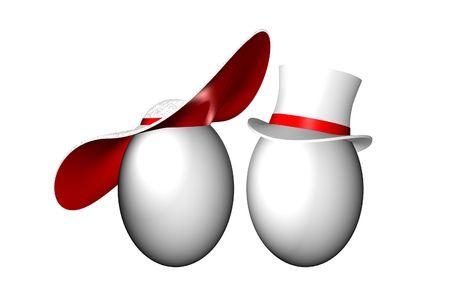 Dos huevos con hombres y mujeres clásicos sombreros  Foto de archivo - 2464503