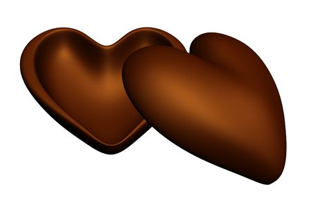 Two Chocolate halves of Heart photo