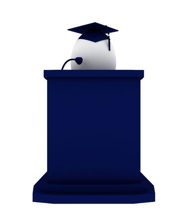 speach: Render of an Egg graduate making a speach positioned behind a blue podium