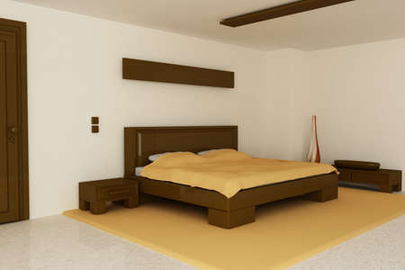 accommodation space: Render of a bedroom with brown and orange tones