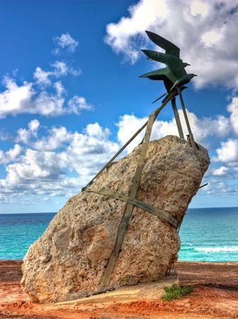 Environmental sculpture near a sea shore in Netanya, Israel photo
