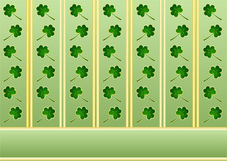 St. Patricks wallpaper with shamrocks and golden stripes Vector
