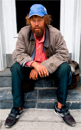 defenseless: Homeless Person Stock Photo