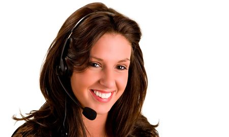 Beautiful Smiling Woman Wearing Headset Stock Photo - 2242754