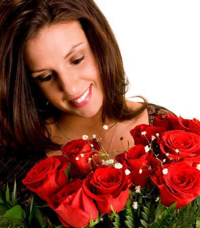 truelove: Young Brunette Admiring her Roses