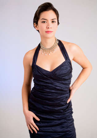evening gown: Beautiful Young Lady of Asian Descent in an Evening Gown Stock Photo