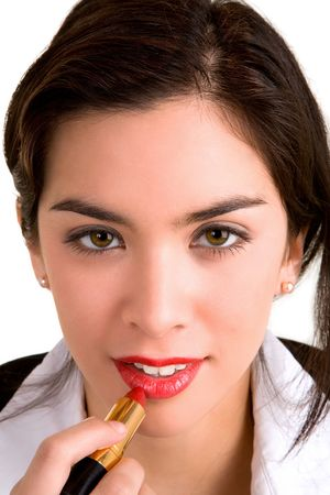 Young Woman Applying Lipstick Stock Photo - 2330967