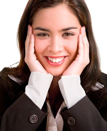 Young Business Woman Pleasantly Surprised photo