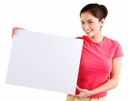 Girl Holding a Blank White Sign Stock Photo