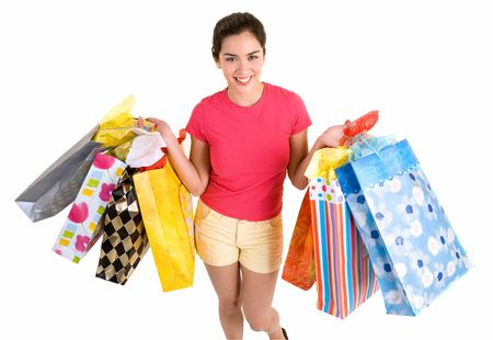 Happy Young Woman on a Shopping Spree  photo