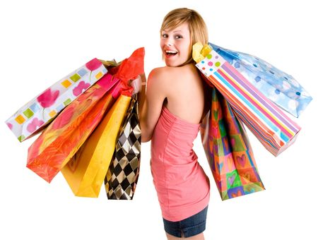 Happy Young Woman on a Shopping Spree  Stock Photo - 2428479