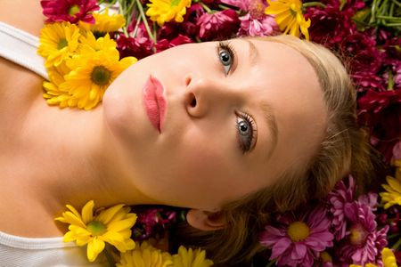 Young Pretty Lady Laying in Flowers photo