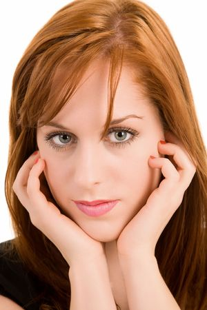 Portrait of a Beautiful Redhead Lady Stock Photo - 2481674