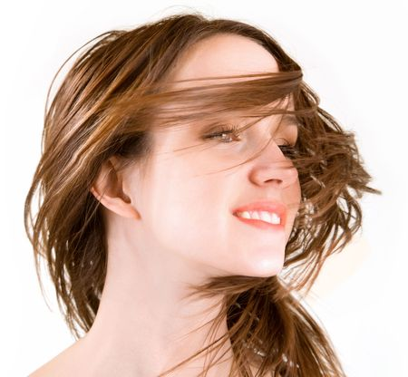 unkempt: Womans Hair in a Swirling Wind Stock Photo