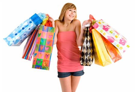 Young Woman on a Shopping Spree Stock Photo - 2513700