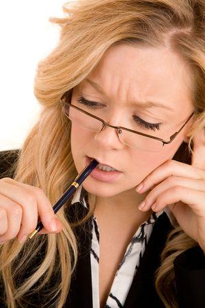 problem: Businesswoman Solving a Problem Stock Photo