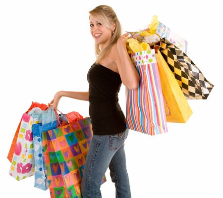 Young Woman on a Shopping Spree Stock Photo - 2601504