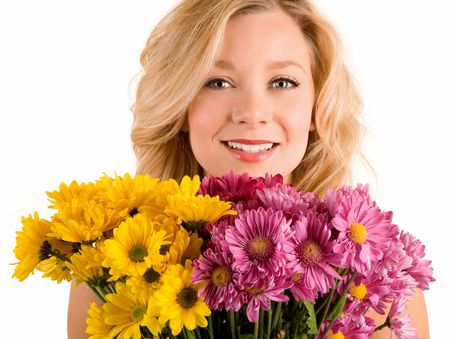 received: A young pretty woman has just received flowers.