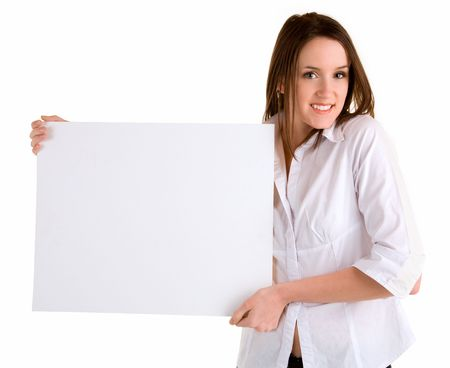 A beautiful young woman is holding a blank white sign. photo