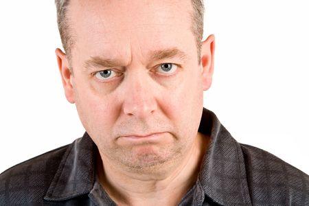 business skeptical: El hombre tiene una perplejidad y actitud esc�ptica.