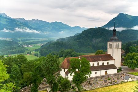 churchyard: Church of Gruyères in the canton of Fribourg, Switzerland