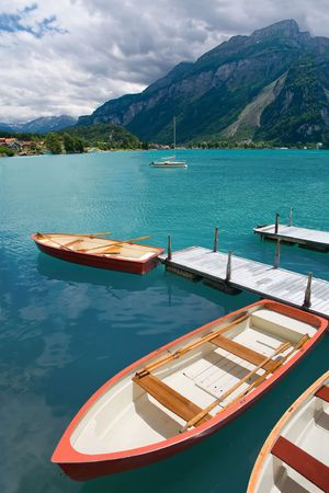 canton berne: Rowboats on Lake Brienz, Berne Canton, Switzerland