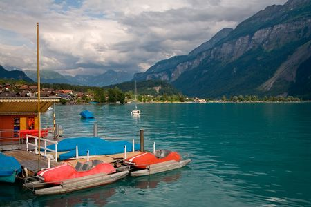 canton berne: Pedal Boats on Lake Brienz, Berne Canton, Switzerland Stock Photo
