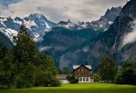 close to a Steep Rocky Mountain in Switzerland Stock Photo