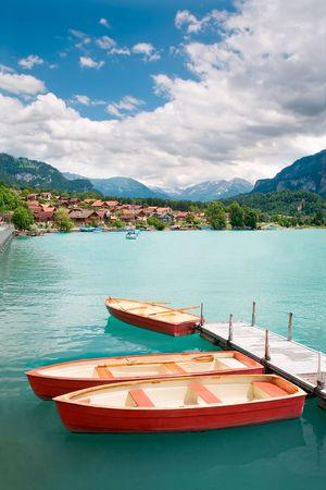 Rowboats on Lake Brienz in the district of Interlaken in the canton of Berne in Switzerland.