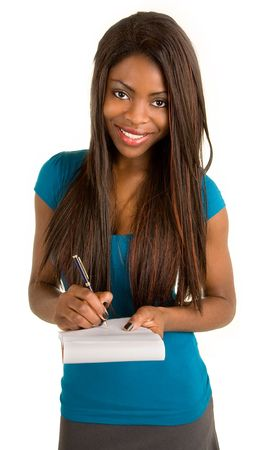 Young African American Businesswoman Taking Notes photo