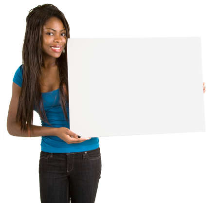 placards:  African American Woman Holding a Blank White Sign