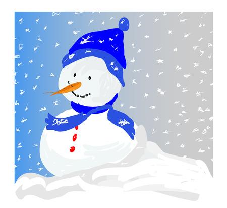 Snowman in a Snowstorm - vector Stock Vector - 4006452