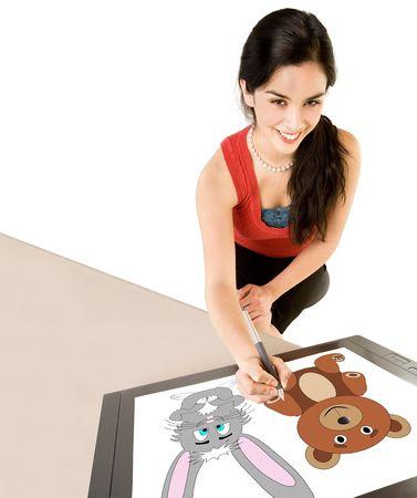 femme dessin: Femme sur un Digital Drawing Tablet