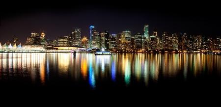 vancouver: Vancouver Skyline at Night Stock Photo