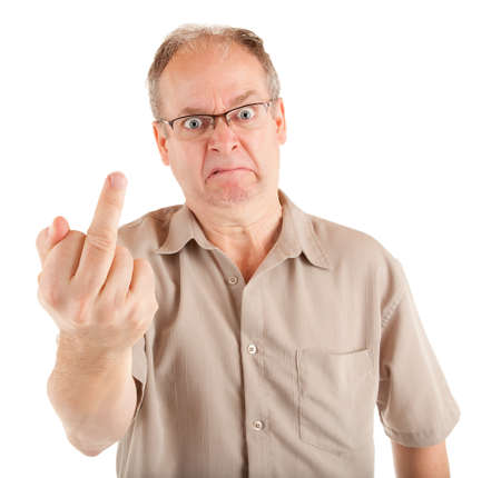unkind: Grumpy Man Giving the Middle Finger Stock Photo