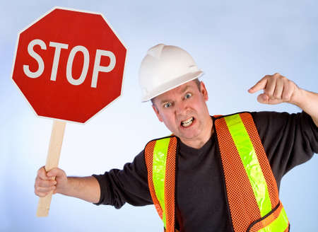 obstruct: Conceptual Construction Worker Angrily Asking to Stop Doing Something