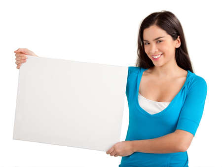 sign post: Beautiful Woman Holding Blank Sign Stock Photo