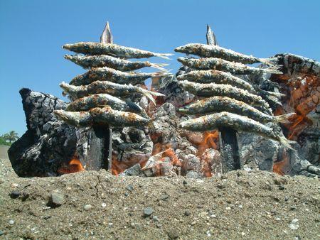 sardinas: Sardinas de cocina en un fuego abierto